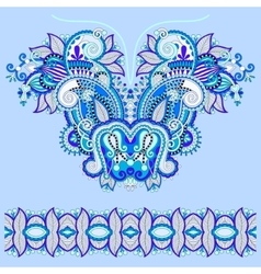 Neckline blue ornate floral paisley embroidery vector