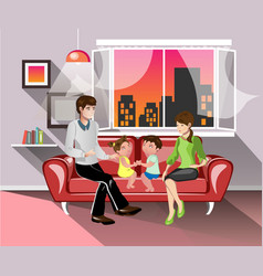 Parents and their children in living room vector