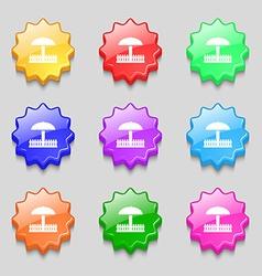 Sandbox icon sign symbols on nine wavy colourful vector