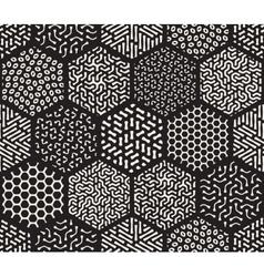 Seamless hexagonal jumble patterns vector