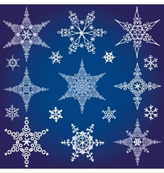 Snowflakes icon collectionWinter crystal star vector image vector image