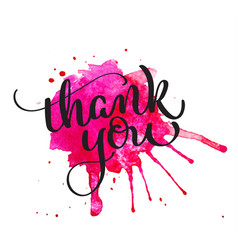 Thank you text on watercolor red blot hand drawn vector