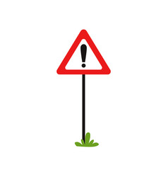 triangular road sign with exclamation mark vector image vector image