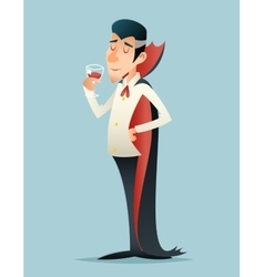 Vampire gentleman cartoon halloween savor drink vector