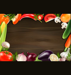 vegetables wooden background vector image vector image