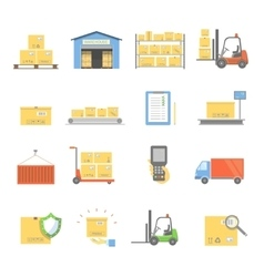 Warehouse transportation and delivery icons vector image vector image