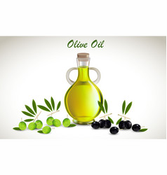 With glass jar full of olive vector