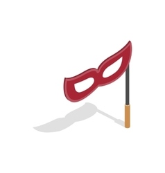 Red mask on a stick icon isometric 3d style vector