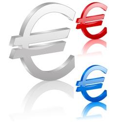 3D euro symbol vector image