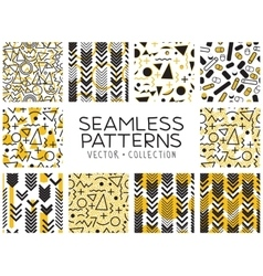 Seamless patterns in memphis style vector