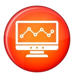 Graph in computer screen icon flat style vector