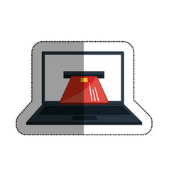 laptop computer with credit card isolated icon vector image