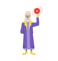Magic witch wizard with crystal ball colorful vector