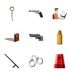 Crime scene icons set cartoon style vector