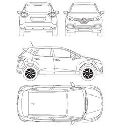 Renault Captur Car Blueprint vector image