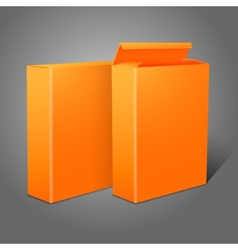 Two realistic bright orange blank paper packages vector