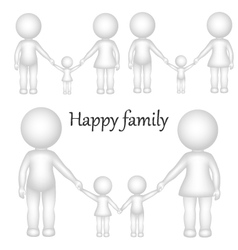 3d happy family vector