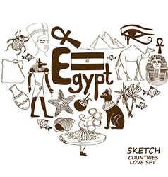 Egyptian symbols in heart shape concept vector