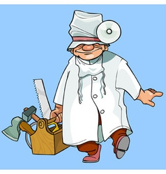 Cartoon caricature health worker with tools vector