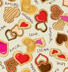 Seamless pattern of heart cookies vector