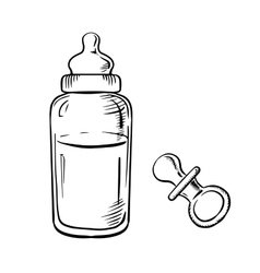 Baby bottle and pacifier sketches vector image