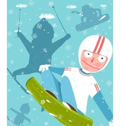 Snowboarding and skiing funny free rider jump fun vector