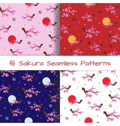 Set of Spring Seamless Patterns Blooming Sakura vector image