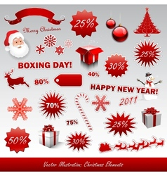 Christmas boxing day icons collection vector