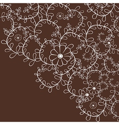 Decorative leaf curly background with flowers vector