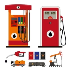 Gas pumps and flat oil industry icons vector image