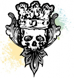 Crowned wicked skull vector