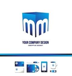 Alphabet letter m cube blue logo icon 3d vector