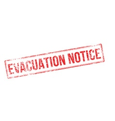 Evacuation notice red rubber stamp on white vector
