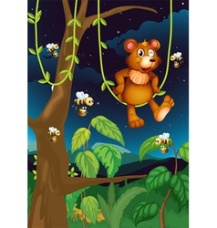 A bear and bees in the forest vector image