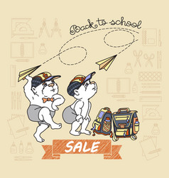 Bears and paper toy plane back to school sale vector