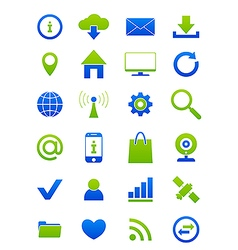 Blue green Internet icons set vector image vector image