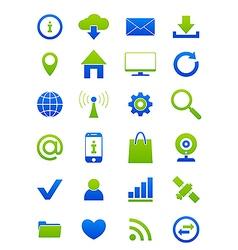 Blue green internet icons set vector