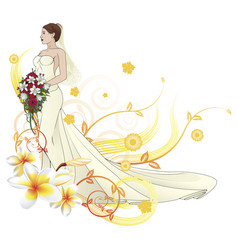 bride beautiful wedding dress floral background vector image