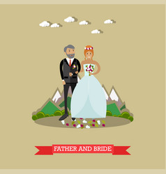 bride with her father in vector image vector image