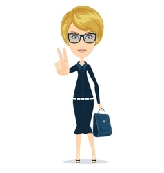 Business Woman - sign of victory vector image