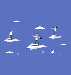 Businessmen flying on paper planes vector