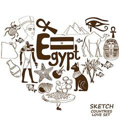 Egyptian symbols in heart shape concept vector