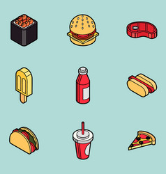 fast food outline color isometric icons vector image