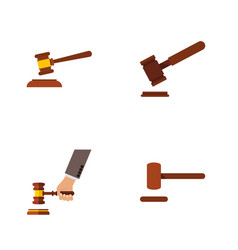 Flat icon lawyer set of hammer defense justice vector