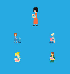 Flat icon mam set of mother perambulator parent vector
