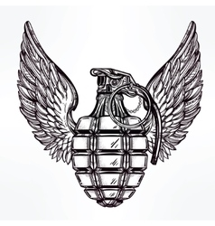 Hand drawn design of a winged manual grenade vector image