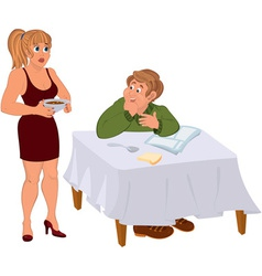 Happy cartoon man with his wife vector image