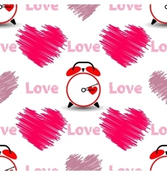 Hearts with the word love and watch Seamless vector image