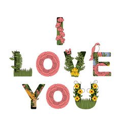I love you announce with flowers decorations vector