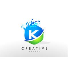 k letter logo blue green splash design vector image